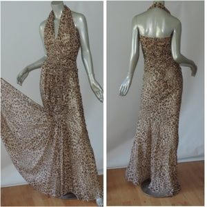 vintage chiffon leopard mermaid halter gown dress